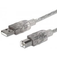 Cable USB 2.0 Manhattan A-B 3.0M plata