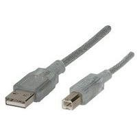 Cable USB 2.0 Manhattan A-B 5M plata