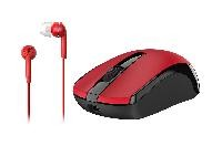Mouse inalambrico Genius MH-8100 y audiculares alambricos rojo