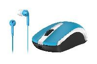 Mouse inalambrico Genius MH-8100 y audiculares alambricos azul