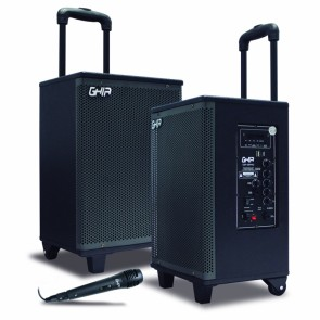 "Bafle GHIA amplificado recargable 8"" 6800W portatil bt/ luces led"